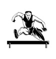 Track and Field Athlete Jumping Hurdles vector image