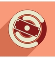 Flat web icon with long shadow money chart vector image