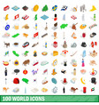 100 world icons set isometric 3d style vector image