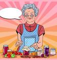 pop art senior woman homemade jam healthy eating vector image vector image