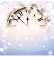 New year clock with snowy background vector image