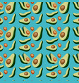 avocados sliced pattern in blue background vector image