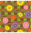 fence with flowers vector image
