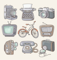 Set of vintage items icons vector image