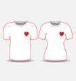 T shirt white red heart template vector image