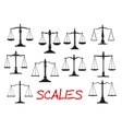 Vintage mechanical balance scales icons vector image