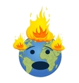 Burning planet Earth Global warming concept vector image