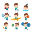 Kid Sportsman Doing Different Sport Types vector image