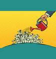 businessman watered money dollars from a watering vector image