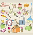set of household objects vector image vector image