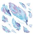 blue zentangle feathers set vector image