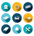 Woodworking flat Icons set vector image