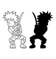 samurai fighter draw vector image