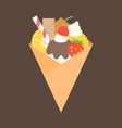 crepes with topping of fruits vector image