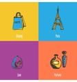 French National Symbols Icons Set vector image