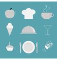 Restaurant icon set Chef hat cloche coffee plate vector image