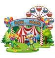 Two clowns in the fun park vector image vector image