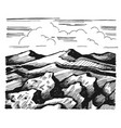 mountains and rock against the sky with clouds vector image