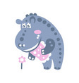 cute cartoon hippo character standing and looking vector image