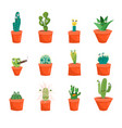 Cartoon funny cactus characters icons set vector image