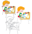 Boy paints Easter eggs vector image vector image