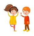 Little boy flower and girl headphones cute vector image
