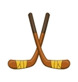 Hockey sticks icon cartoon style vector image