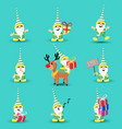 christmas elf funny holiday cartoon set vector image