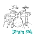 Five piece drum kit sketch icon vector image