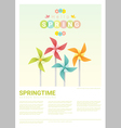 Hello spring background with colorful pinwheels 5 vector image