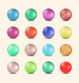 set of glossy colored balls with halftone fill vector image