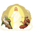 Transfiguration jesus christ with elijah and moses vector image