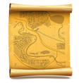Paper Scroll with Map vector image