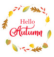 hello autumn poster with lettering and colorful vector image