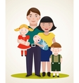 Happy Family Parents with Three Children vector image vector image