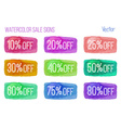 Sale signs on watercolor background vector image