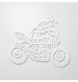 Flat lettering motorcyclist vector image
