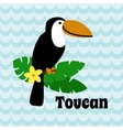 Cute Cartoon Toucan on blue wave background vector image