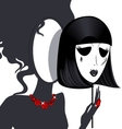 lady-mirror with black-white mask vector image