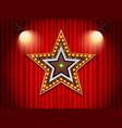 light neon sign star shape vector image