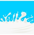Milk Splash on Blue Background vector image