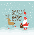 Funny deer and Santa Claus vector image