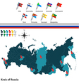 Krais of Russia with flags vector image