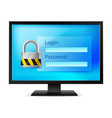computer with lock on white background vector image
