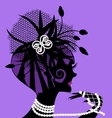 violet girl and pearls vector image