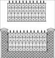 Iron fence with bricks vector image