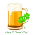 Beer and shamrock St Patrick day vector image