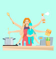 busy multitasking woman and mom with baby vector image