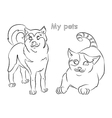 cat dog vector image