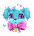 little cute cartoon blue fluffy puppy face vector image